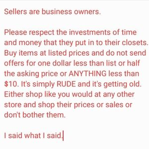 NO OFFERS!!! Be respectful or please leave.